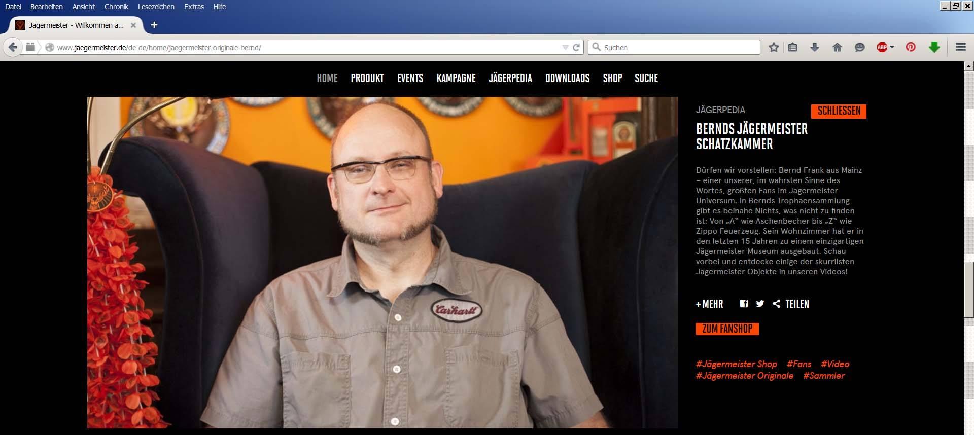 KLE auf der Jägermeister Homepage